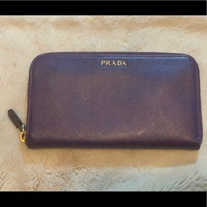 Prada zipper wallet purple